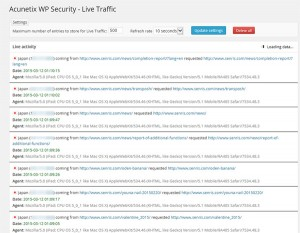 Acunetix WP Security - Live Traffic